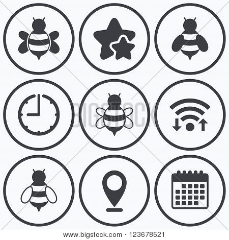 Clock, wifi and stars icons. Honey bees icons. Bumblebees symbols. Flying insects with sting signs. Calendar symbol.