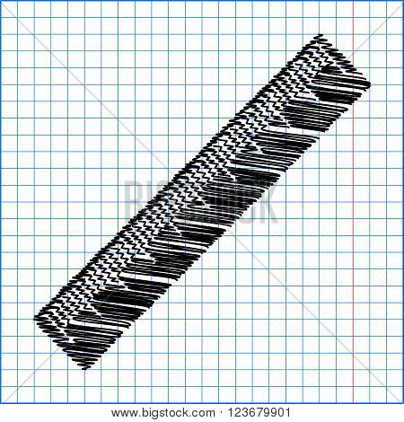 Centimeter ruler sign. Flat style icon with scribble effect on school paper.
