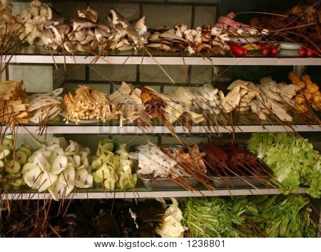 fruit and vegetables in a shop in lanzhou china gansu province pepared for cooking poster