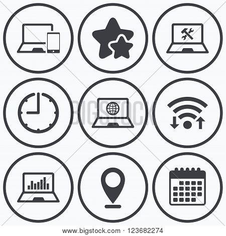Clock, wifi and stars icons. Notebook laptop pc icons. Internet globe sign. Repair fix service symbol. Monitoring graph chart. Calendar symbol.