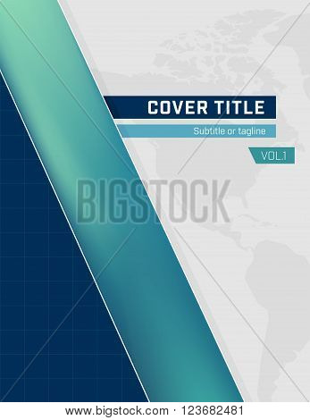 Teal and Blue Cover with World Map Background