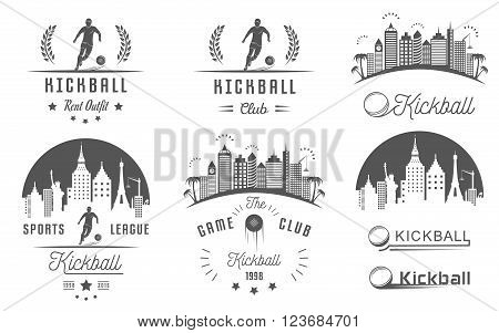 Set of vintage kickball labels logo sign badges icons and outfit. Collection of kickball club emblem and design elements. Kickballl tournament professional logo and sports graphic.