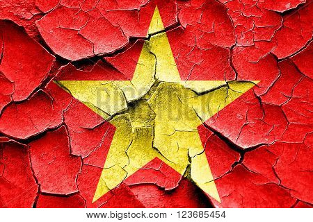 Grunge cracked Communist sign with red and yellow vivid colors