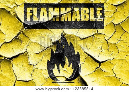 Grunge cracked Flammable hazard sign with yellow and black colors