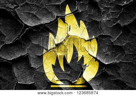 Grunge cracked Flammable hazard sign with yellow and black colors poster