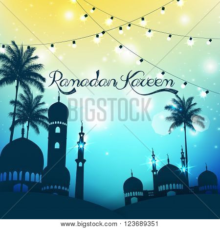 Illustration of Ramadan Kareem background with mosque and palm tree