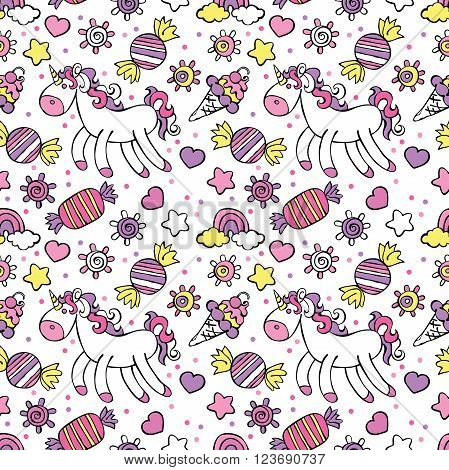 Unicorn. Ice cream, candy. Rainbow and cloud. Sprockets, hearts and circles. Vector seamless pattern (background).