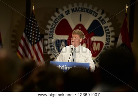 Bridgeton, MO, USA - March 08, 2016: Missouri Attorney General Chris Koster speaks to supporters of presidential democratic candidate Hillary Clinton, at District 9 Machinists Hall in Bridgeton, MO.