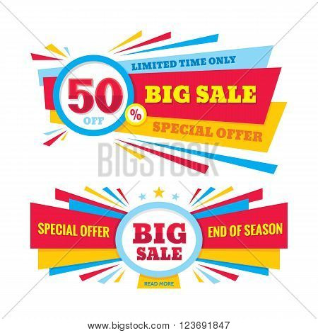 Big sale vector banner - discount 50% off. Special offer crerative layout. Limited time only! End of season. Big sale abstract banner design.