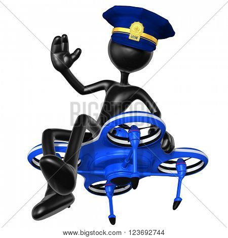 Aerial Police Drone 3D Illustration Concept