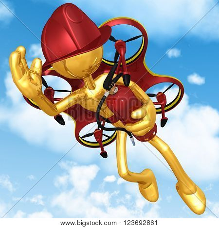 Aerial Fire Fighter Drone 3D Illustration Concept