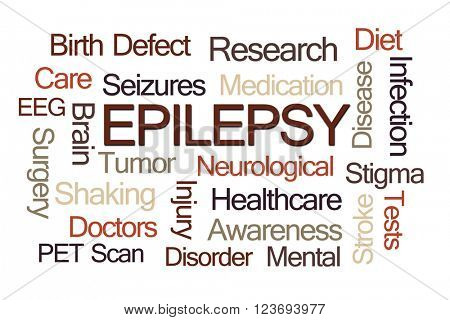 Epilepsy Word Cloud on Light Brown Background