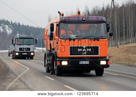 SALO, FINLAND - MARCH 24, 2016: Two MAN Schorling
