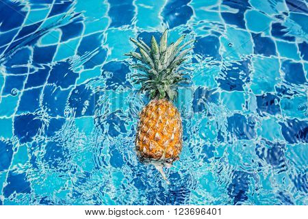 Fresh pineapple in the blue waterpool. Healthy diet food.