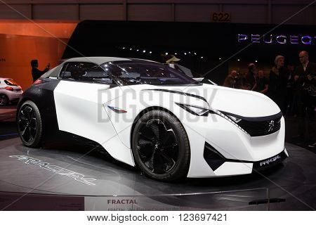 GENEVA, SWITZERLAND - MARCH 1: Geneva Motor Show on March 1, 2016 in Geneva, Peugeot Fractal Concept, front-side view