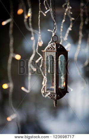 Lantern and led christmas lights hanging