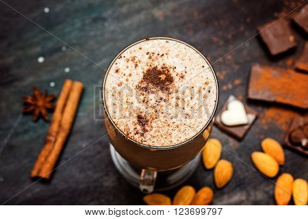 chocolate smothie with nuts and pieces of chocolate