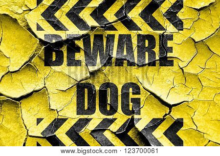 Grunge cracked Beware of dog sign with some vivid colors
