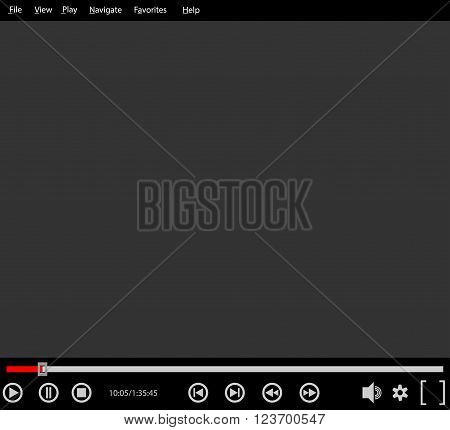 Classic media player interface. Media player with control buttons and seek bar. Vector illustration.