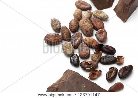 raw cacao beans, roasted cacao beans and chocolate
