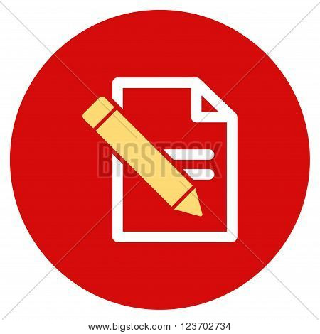 Edit Records vector icon. Image style is a flat light icon symbol on a round red button