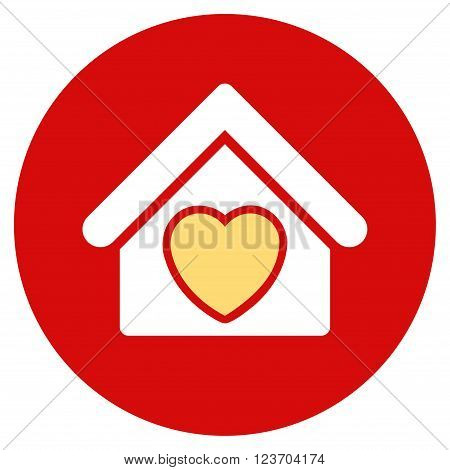Hospice vector icon. Image style is a flat light icon symbol on a round red button