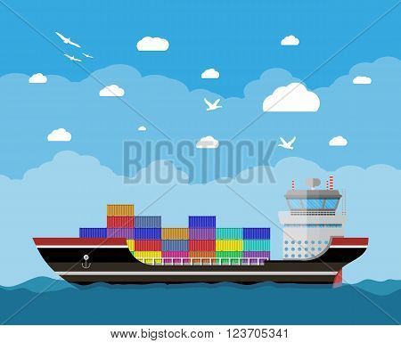 Cargo ship in water, blue sky with clouds and seagulls. Freight shipping by water. Commercial container ship, industrial and logistic, vector illustration in flat design