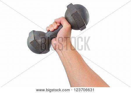 Right hand holding a retro dumbbell isolated on white background