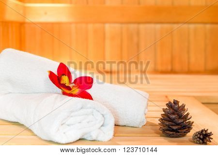 White Towels In The Spa Style Shot In The Sauna