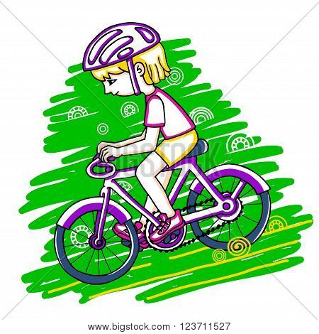 Edit girl on a bicycle color vector drawing. Healthy lifestyle background.