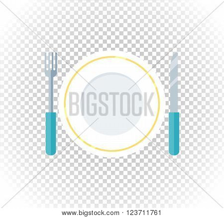 Plate fork knife design flat icon. Food plate, dinner plate isolated, kitchen and restaurant, lunch dining fork knife plate vector illustration poster