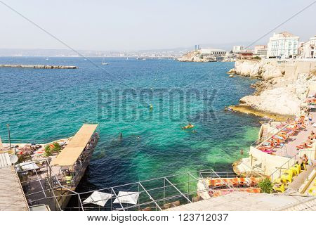 MARSEILLES, FRANCE - MAY 11, 2015 : View of the Vallon des Auffes and the port of Marseilles. The fishing port is famous for its restaurants and beaches along the Mediterranean sea.