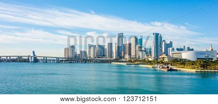 Miami Florida city skyline morning with blue sky