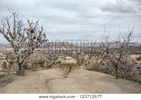 Couple of naked trees with many multi-colored ribbons tied on them. Behind the trees there is a breakage. Behind right naked tree there is a blooming tree. On the background there is a valley with mountains and the cloudy sky.