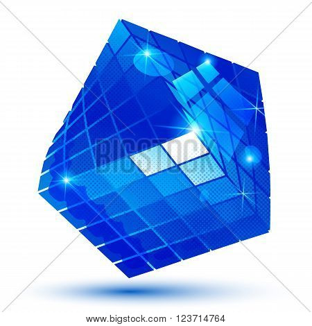Vector futuristic object with sparkling effect dimensional textured deformed figure isolated on white background.