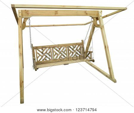 Brown Wooden Garden Swing Isolated Over White Background