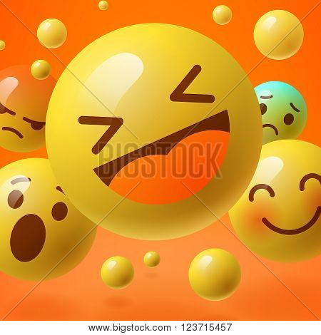 Background with group of smiley emoticons, emoji, social media communication concept, vector illustration.