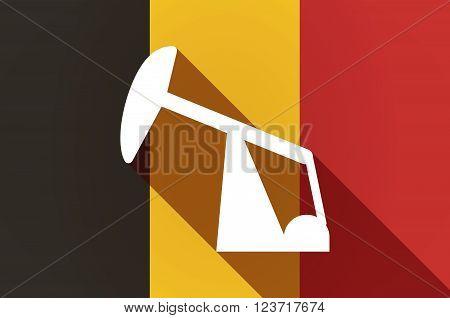 Long Shadow Belgium Flag With A Horsehead Pump