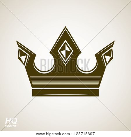 Vector vintage crown luxury ornate coronet illustration. Royal luxury design element decorative regal icon.