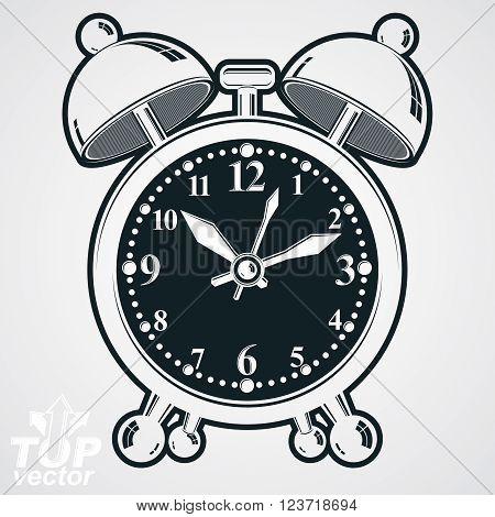 Alarm Clock Vector 3D Black And White Illustration, Wake Up Conceptual Icon. Graphic Dimensional Clo