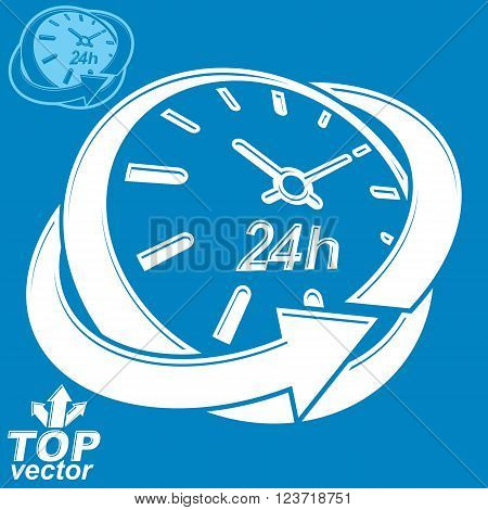 Elegant 3D Vector Round 24 Hours Clock, Around-the-clock Pictogram With Invert Version. Time Idea Pe