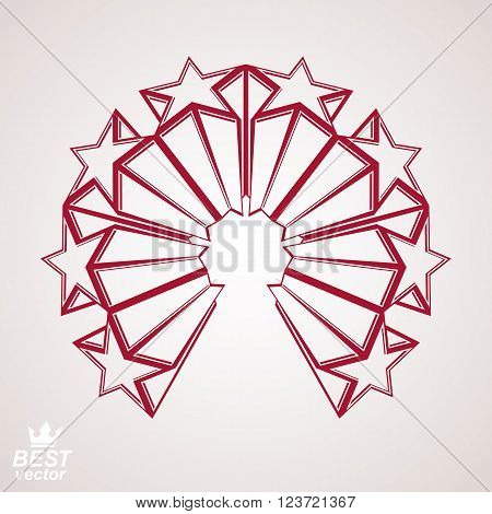Vector corporate design element celebrative perspective stars web emblem. Union and solidarity theme, 3d heraldic object. Festive aristocratic symbol.
