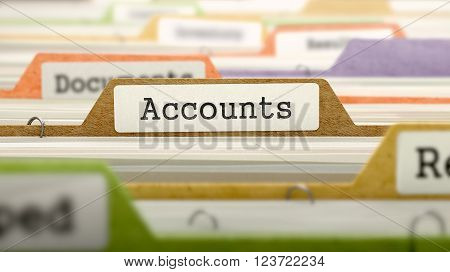 Accounts Concept on Folder Register in Multicolor Card Index. Closeup View. Selective Focus. 3D Render.