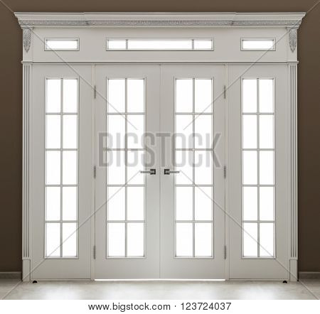 Interior. A white decorated  double door with glass ** Note: Visible grain at 100%, best at smaller sizes