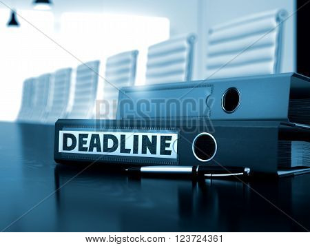Deadline - Business Illustration. Folder with Inscription Deadline on Wooden Black Desktop. Deadline - Business Concept on Office Background. 3D Render. Toned Image.
