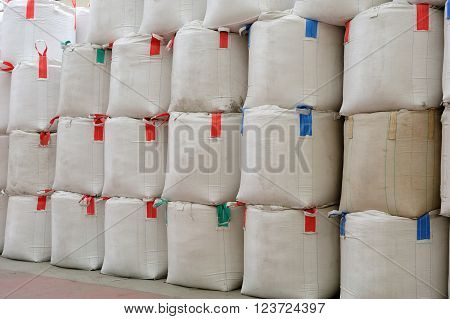 Big Rice bags stack up in the warehouse