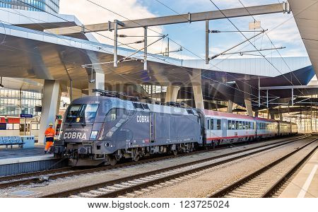 Vienna, Austria - January 12, 2016: Passenger train at Wien Hauptbahnhof station. The Hauptbahnhof was officially opened  10 October 2014