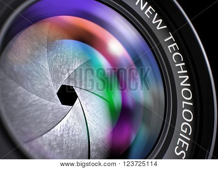 New Technologies on Lens of Reflex Camera. Colorful Lens Flares. Closeup Front Glass of Camera Lens with Colorful Reflection and Inscription New Technologies. 3D Render.
