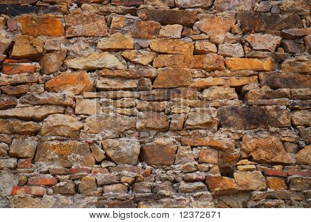 A wall of rough stacked stones useful for background or textures