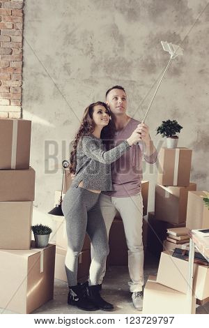Cute couple during moving home